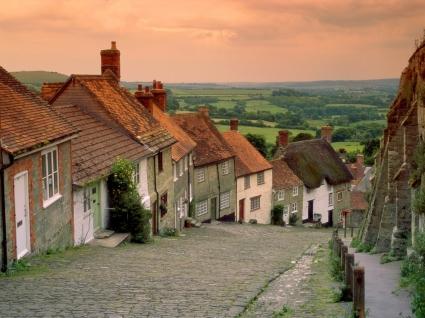 Gold Hill Cottages Wallpaper England World