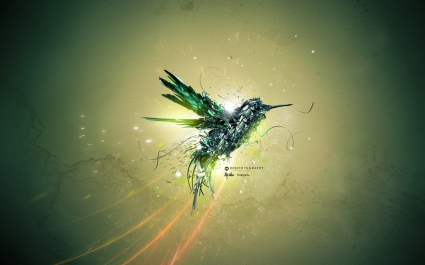 Green Bird Flight