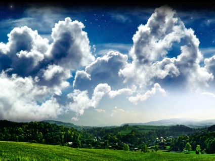 Hilltop View Wallpaper Photo Manipulated Nature