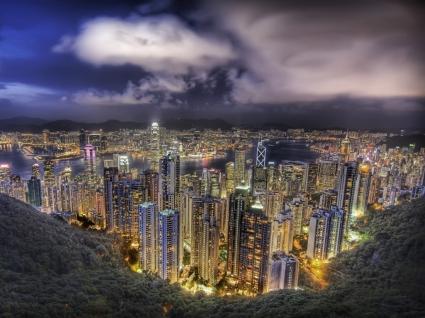 Hong Kong at night Wallpaper China World