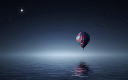 Hot air balloon over Sea