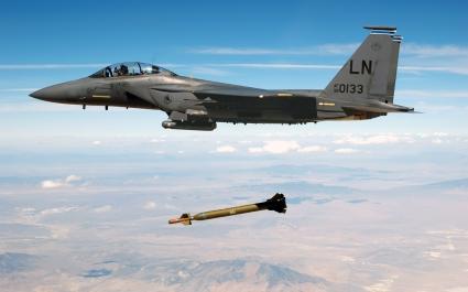 Jet Fighter Drops Missile