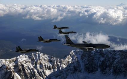 KC 135 Stratotanker Refueling F 15 Eagles