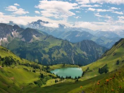Lake in the Alps Wallpaper Landscape Nature