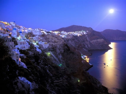 Moonrise Over Santorini Wallpaper Greece World