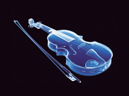 Neon Violin Wallpaper Abstract 3D