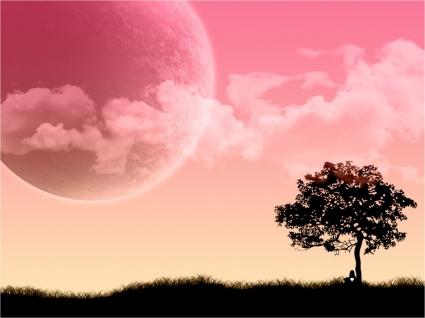 Red Moon Wallpaper Vector 3D