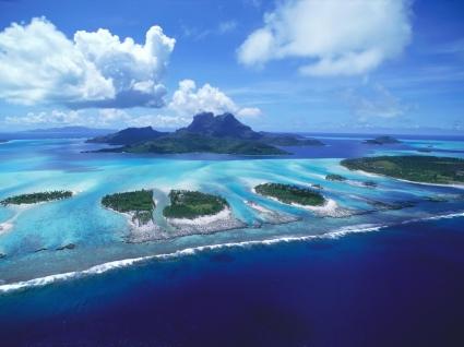 Reefs of Bora Bora Wallpaper Landscape Nature