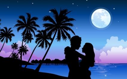 Romantic Paradise Wallpaper Vector 3D