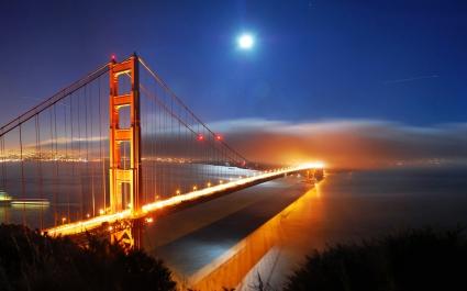 San Francisco Bridge Night Lights