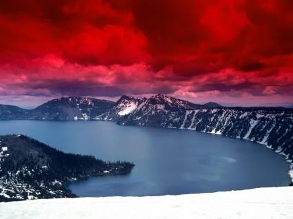 Scarlet Skies Wallpaper Landscape Nature