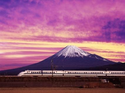 Shinkansen Bullet Train and Mount Fuji Wallpaper Japan World