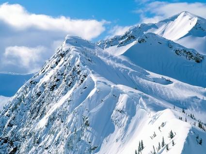 Snowy Peaks Wallpaper Winter Nature