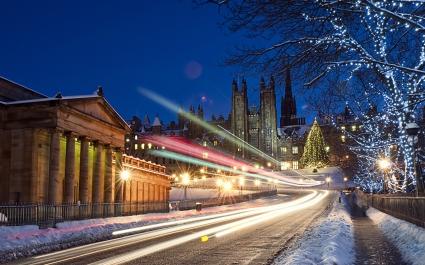 Snowy Traffic Trail Lights