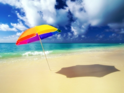 Sun umbrella Wallpaper Beaches Nature