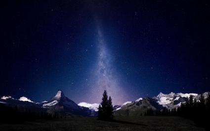 Swiss Alps Night Sky
