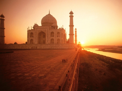 The Taj Mahal at Sunset India