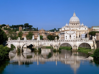 The Vatican Seen Past the Tiber River Wallpaper Italy World