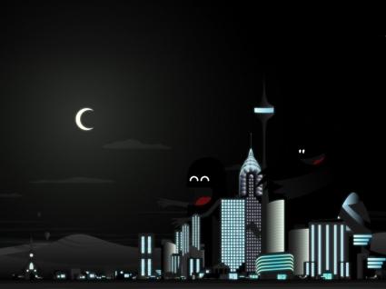 Vector city Wallpaper Vector 3D