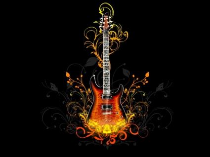 Vector Guitar Wallpaper Vector 3D