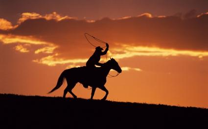 Western Cowboy at Sunset