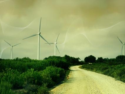 Wind Turbines Wallpaper Photo Manipulated Nature