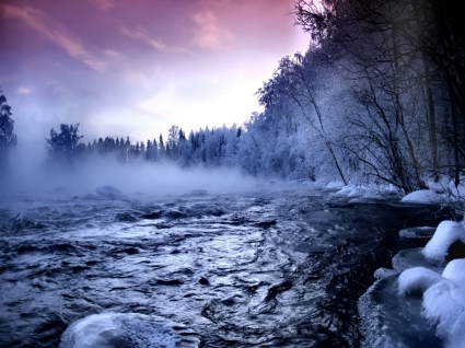 Winter river Wallpaper Winter Nature