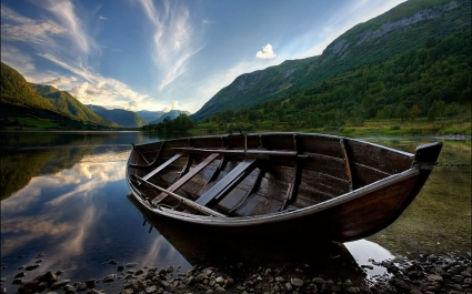 Wooden Boat Wallpaper Landscape Nature
