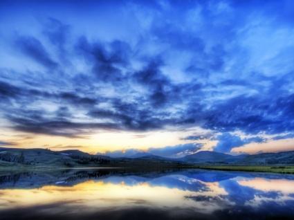 Yellowstone sunset Wallpaper United States World