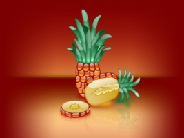 Aqua PineApple Wallpaper Abstract 3D