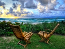 Beach Chairs Wallpaper High Dynamic Range Nature