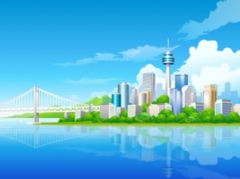 Blue City Wallpaper Vector 3D