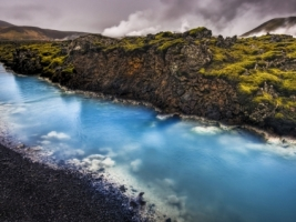Blue Stream Wallpaper Iceland World