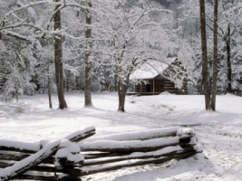 Carter Shields Cabin in Winter Wallpaper Winter Nature