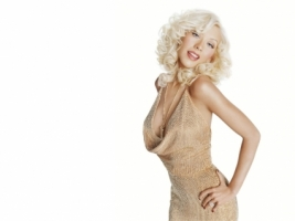 Christina Aguilera Gold Dress Wallpaper Christina Aguilera Female celebrities