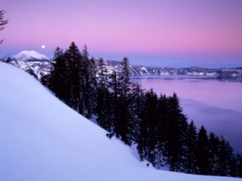 Crater Lake National Park Wallpaper Winter Nature