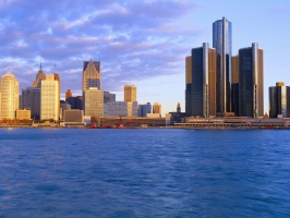 Detroit at Sunrise Michigan