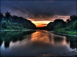 Donau sunrise Wallpaper Photo Manipulated Nature