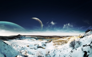 Dreamy Sky Snow Landscape