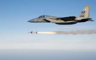 F 15 Eagle Firing AIM 7 Sparrow Medium Range Air to Air Missile