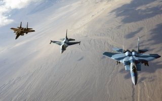 F 15 Eagles and F 16 Fighting Falcon