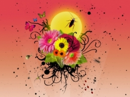 Flowers and insects Wallpaper Vector 3D