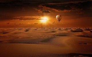 Hot Air Balloon Desert Sunrise