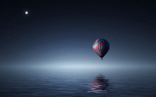 Hot air balloon over Sea