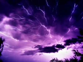 Mauve Sky with Lightning Wallpaper Landscape Nature