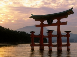 Miyajima Shrine at Sunset Wallpaper Japan World