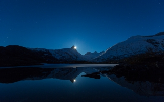 Moon Behind Mountain Reflection