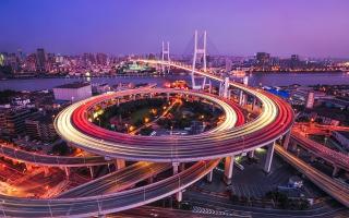Nanpu Bridge Huangpu River  Shanghai