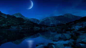 Night Half Moon Mountains Lake Bulgaria