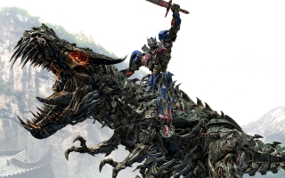 Optimus Prime Riding Grimlock